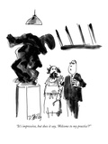 """""""It's impressive, but does it say, 'Welcome to my practice'"""" - New Yorker Cartoon Premium Giclee-trykk av Donald Reilly"""