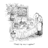 """Today's big story is eggplant."" - New Yorker Cartoon Premium Giclee Print by Edward Koren"