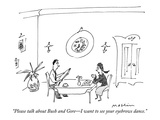"""Please talk about Bush and Gore—I want to see your eyebrows dance."" - New Yorker Cartoon Premium Giclee Print by Michael Maslin"