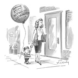 Small boy walks down the street holding his mother's hand, with a balloon … - New Yorker Cartoon Premium Giclee Print by Mike Twohy