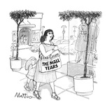 "Woman with bag that says ""Ann Carson The Mall Years"". - New Yorker Cartoon Premium Giclee Print by Rip Matteson"
