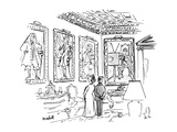 A man & a woman stand in an ornate room 13 in 18th century costume, one of… - New Yorker Cartoon Premium Giclee Print by Frank Modell