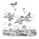 A squad of US bombers drops pretzels instead of bombs. - New Yorker Cartoon Regular Giclee Print by Edward Koren