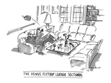 The Venus Flytrap Leather Sectional - New Yorker Cartoon Premium Giclee Print by Michael Crawford