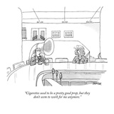 """Cigarettes used to be a pretty good prop, but they don't seem to work for…"" - New Yorker Cartoon Regular Giclee Print by Jack Ziegler"