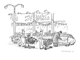 Store clerks wheeling out shopping carts to man opening his car trunk.  On… - New Yorker Cartoon Premium Giclee Print by Bill Woodman