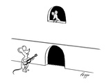 A mouse serenades his sweetheart as she looks down from a balcony shaped l… - New Yorker Cartoon Premium Giclee Print by Felipe Galindo
