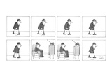 Man walks with his briefcase in his hand and sits down in a reclining chai… - New Yorker Cartoon Premium Giclee Print by Joseph Farris