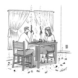 Couple holding revolvers while playing chess, with bits of chess pieces on… - New Yorker Cartoon Giclee Print by Tom Cheney