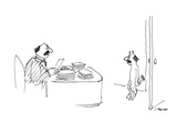 Pan enters an office, looking exactly like a businessman he sees behind a … - New Yorker Cartoon Premium Giclee-trykk av Al Ross