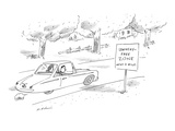 Man and woman driving past road sign that reads, 'Lewinsky-Free Zone Next … - New Yorker Cartoon Premium Giclee Print by Michael Maslin