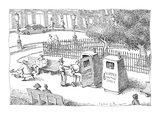 Policeman places criminal in 'Slammer On The Spot,' a portable jail cell i… - New Yorker Cartoon Premium Giclee Print by John O'brien