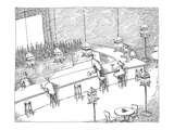 Bar patrons eating snacks from bird feeders. - New Yorker Cartoon Premium Giclee Print by John O'brien
