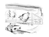 """A giant chicken looks over a fence as if it were a cow, at a passing motor…"""" - New Yorker Cartoon Premium Giclee-trykk av Donald Reilly"""