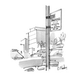 There is a street sign that reads, 'No Parking / Scandal or No Scandal.' R… - New Yorker Cartoon Regular Giclee Print by Dana Fradon