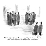 """On the left is Senator Binghamton, giving his views, and on the right is …"" - New Yorker Cartoon Regular Giclee Print by Stan Hunt"