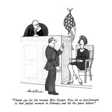 """Thank you for the rewind, Miss Cooper.  Now let us fast-forward to that f…"" - New Yorker Cartoon Premium Giclee Print by J.B. Handelsman"