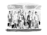 Chef with hat and lobster trap on subway stop with businessmen with briefc… - New Yorker Cartoon Premium Giclee Print by Warren Miller