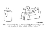 """As I recall, Leonard, when we first watched 'The Honeymooners' you said t…"" - New Yorker Cartoon Premium Giclee Print by Charles Barsotti"
