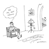 Man sitting in chair with legs twisting around each other, thinks to himse… - New Yorker Cartoon Regular Giclee Print by Michael Maslin