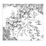 Sword and spear battle between one group of soldiers carrying stop signs, … - New Yorker Cartoon Regular Giclee Print by John O'brien