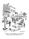 Sensation in the Hamptons:  A Man Strolls Down Main Street Wearing a Tie - New Yorker Cartoon Premium Giclee Print by J.B. Handelsman