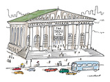 Exterior of Metropolitan Museum of Pants with sign reading 'The Trou of th… - New Yorker Cartoon Premium Giclee Print by Michael Crawford