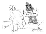 Bedraggled bum holds sign requesting hugs from passersby. - New Yorker Cartoon Premium Giclee Print by Gahan Wilson