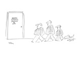 Picture of three men in a line and dog walking behind them as they approac… - New Yorker Cartoon Regular Giclee Print by Dean Vietor