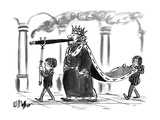 A king walking, smoking a cigar. One boy attendant behind him carries his … - New Yorker Cartoon Regular Giclee Print by Warren Miller