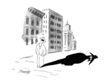 A man wearing dark glasses looks at his shadow on the sidewalk; it is blac… - New Yorker Cartoon Premium Giclee Print by Peter Porges