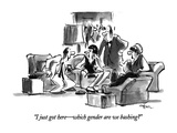 """I just got here—which gender are we bashing"" - New Yorker Cartoon Premium Giclee Print by Lee Lorenz"