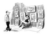 Artist on sidewalk selling floor plans and elevations. - New Yorker Cartoon Premium Giclee Print by Warren Miller
