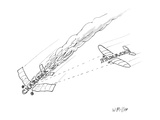 """Charisma"" plane in flames as ""Panache"" plane shoots it down. - New Yorker Cartoon Regular Giclee Print by Warren Miller"