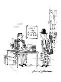 "On a street corner, under a sign, ""Meet the Author  9:30-12:30,"" a young w… - New Yorker Cartoon Premium Giclee Print by Bernard Schoenbaum"