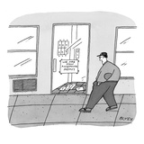 Passerby in baseball cap sees sign in apartment building entrance that rea… - New Yorker Cartoon Giclee Print by Peter C. Vey