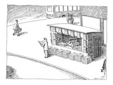 Man at newstand with multiple stacks of newspapers and multiple copies of … - New Yorker Cartoon Premium Giclee Print by John O'brien