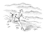 Man running along the beach listening to a sea shell with earphones. - New Yorker Cartoon Premium Giclee Print by John O'brien