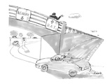 Two road signs on an overpass. One points to 'Newark' and the other points… - New Yorker Cartoon Premium Giclee Print by Michael Crawford