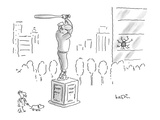 A statue of a baseball player swinging a bat; next to the statue there is … - New Yorker Cartoon Regular Giclee Print by Arnie Levin