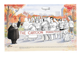 Various New Yorker Cartoon characters in Central Park ready to start the N… - New Yorker Cartoon Premium Giclee Print by Harry Bliss