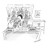 Russian bureaucrat in office has boxes labeled 'Inski' and 'Outski.' - New Yorker Cartoon Premium Giclee Print by Jack Medoff