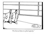 &quot;I&#39;ve been at home in a fired capacity.&quot; - New Yorker Cartoon Premium Giclee Print by Bruce Eric Kaplan