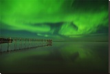 Northern Lights Reflected in Lake Winnipeg V Stretched Canvas Print by Mike Grandmaison