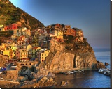 Manarola Cinque Terre Stretched Canvas Print by Richard Desmarais