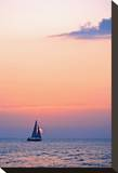 Sunset Pink Sailboat Stretched Canvas Print by Vaughn Garner