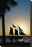 Blue Sailboat Sunset Stretched Canvas Print by Vaughn Garner