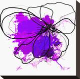 Purple Abstract Brush Splash Flower Stretched Canvas Print by Irena Orlov