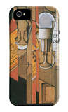 Glasses, Newspaper and Wine Bottle iPhone 5 Case by Juan Gris