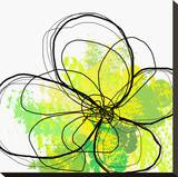 Green Abstract Brush Splash Flower Stretched Canvas Print by Irena Orlov